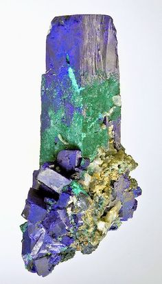 Impressive specimen featuring an Azurite crystals with Malachite on matrix! From the Tsumeb Mine, Tsumeb, Otjikoto Region, Namibia.