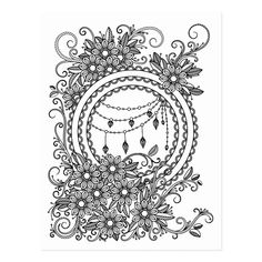 Shop Floral Adult Coloring Postcard created by Dv_Design. Blank Coloring Pages, Printable Adult Coloring Pages, Mandala Coloring Pages, Coloring Books, Henna Patterns, Diy Arts And Crafts, Gel Pens, Postcard Size, Doodle Art