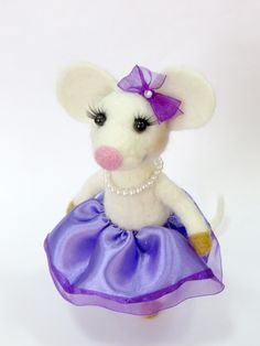 Needle Felted Mouse.White Mouse.Girl.Cute Mouse.Beautiful.Pink,Purple,Lavender Skirts. Soft Sculpture.Ballerina Mouse.Made to Order. by HandMadeArtForYou on Etsy https://www.etsy.com/listing/203260489/needle-felted-mousewhite-mousegirlcute