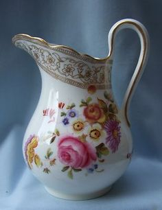 Victorian English Porcelain Hand Painted Cream Pitcher Jug