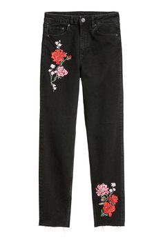 Slim Mom Jeans - Svart denim/Blommor - DAM | H&M SE 3