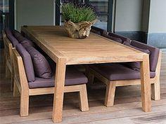 Teak tuinmeubelen of hardhout tuinmeubels zoals bankirai te koop voor tuin en terras Outdoor Dining Furniture, Teak Furniture, Furniture Design, Backyard Seating, Types Of Sofas, Wood Design, Furniture Making, Chair Design, Interior Design