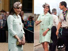 Grávida de seis meses, a mulher do príncipe William entregou medalhas aos escoteiros em nome da rainha  (Foto: Olivia Harris/POOL/AFP).