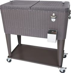 80QT Rattan Portable Rolling Cooler With Wheels