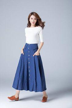blue linen skirt button skirt high waisted skirt pleated