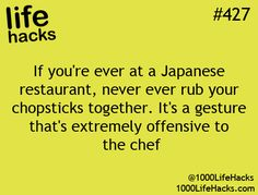 Chopstick rules :: This only applies to dining-in at nice restaurants. At home, go crazy and do whatever you want.