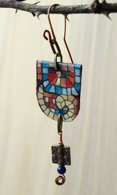 Vintage Mosaic Tin Earrings on Copper - Reeds of Gray Handcrafted Jewelry
