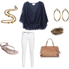 White skinnies with a navy top. Love this!