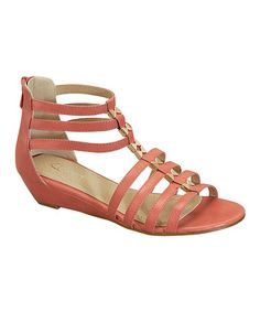 Another great find on #zulily! Coral Elena Gladiator Sandal by Heart #zulilyfinds