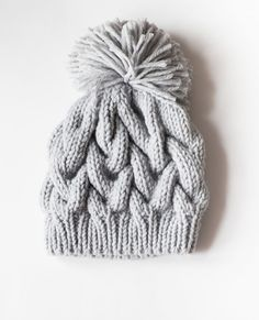Hand Knit Winter pom pom hat. Cable Knit Hat. Chunky knits. Gray