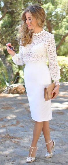 White Lace Top, White Pencil Midi Skirt, White Heels | Te Cuento Mis Trucos                                                                             Source