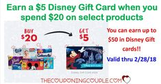 Earn a $5 Disney Gift Card when you spend $20 on select products! This deal is valid through the end of February so be sure to get your receipts submitted.   Click the link below to get all of the details ► http://www.thecouponingcouple.com/earn-a-5-disney-gift-card/ #Coupons #Couponing #CouponCommunity  Visit us at http://www.thecouponingcouple.com for more great posts!