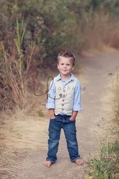 boys: blue chambray oxford, linen vest, dark denim jeans, barefoot