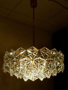 German Kinkeldey Crystal Glass gold plated Chandelier 60s 70s