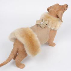 Susan Lanci Nouveau Bow Champagne Fur Dog Coat in Camel