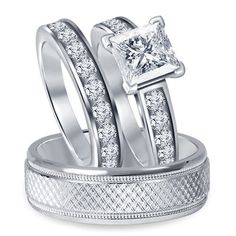6.00 MM Solitaire Stone 9kt White Gold Plated NEW His/Her Matching Trio Set #br925silverczjewelry #SolitaireWithAccentsRing