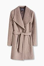 Two-tone wool blend coat with XL collar