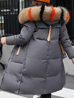 Casual Faux Fur Hooded Long Down Coat Faux Fur Hooded Jacket, Fur Jacket, Long Winter Coats, Winter Jackets, Coats For Women, Clothes For Women, Diy Clothes, Long Down Coat, Leopard Print Coat