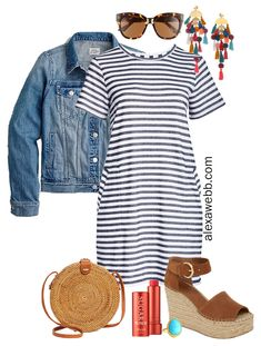 Plus Size Stripe T-Shirt Dress Outfits – Alexa Webb Plus Size Stripe T-Shirt Dress Outfit with Denim Jacket, Statement Boho Earrings, Rattan Crossbody, and Espadrille Sandals – Alexa Webb Lazy Outfits, Boho Outfits, Casual Outfits, Summer Outfits, Cute Outfits, Weekly Outfits, Modest Outfits, Shirtdress Outfit, Black Dress Outfits