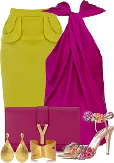 Yves Saint Laurent clutch, gold jewelry, green high waisted skirt and Fushia haltered top