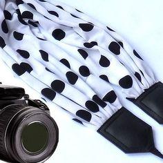 Dots scarf camera strap. DSLR / SLR Camera accessories. Black and white camera strap for Canon, Nikon, Fuji & other cameras. $41