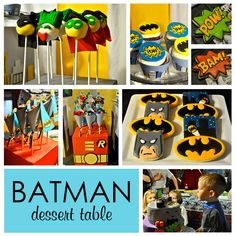 Batman party.  Would be fun to do the cakepops as Lego Batman.  Love the Batman logo cookies.
