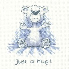 click here to view larger image of Just A Hug - Justin Bear Cards (counted cross stitch kit)