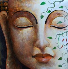 """Sometimes I get to the point of frustration, that I just become silent.""  ArtsNyou - Buddha Face Serene Painting   <3 lis"