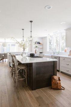 Dark Brown Kitchen Cabinets, Dark Wood Kitchens, Stools For Kitchen Island, White Kitchen Island, Brown Kitchens, Home Kitchens, Kitchen Islands, Counter Stools, Beige Kitchen