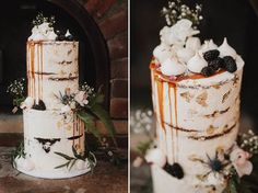 Two tier semi naked wedding cake topped with dripped caramel and meringues #weddingcake