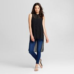 Women's High Low Tunic Black - Mossimo™ : Target