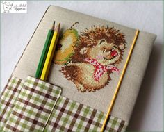 hand made notebook, cross stitching