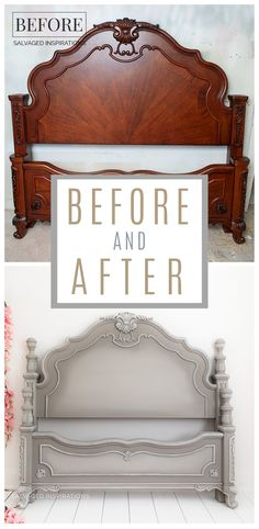 French Linen Painted Headboard - Before and After Painted Headboard, Antique Headboard, Linen Headboard, Chalk Paint Furniture, Furniture Projects, Diy Furniture, Furniture Styles, Bedroom Furniture, Furniture Design