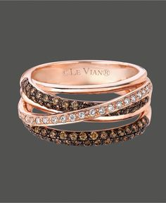 Le Vian Diamond Ring, 14k Rose Gold White and Chocolate Diamond Crisscross Ring (7/8 ct. t.w.) - Rings - Jewelry & Watches - Macy's