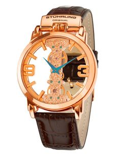 Stuhrling Original Men's Classic Winchester Spire Rose Gold Watch