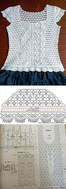 Knitting Patterns Sweter 钩花衣 'Design inspiration for crochet top' Débardeurs Au Crochet, Pull Crochet, Crochet Shoes, Crochet Woman, Crochet Chart, Crochet Cardigan, Crochet Clothes, Crochet Stitches, Crochet Baby