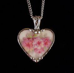 Broken china jewelry pendant