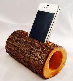 Amplificador acústico madera natural para teléfono por ManMadeWoods