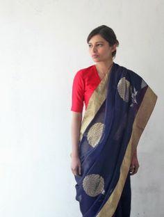 Blue Chanderi & Zari Marigold Saree- Raw Mango