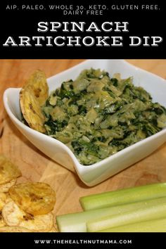 This AIP Paleo Spinach Artichoke Dip is so easy to make healthy & delicious! A quick & easy appetizer that can be made last minute. Whole 30, Keto, Gluten Free & Dairy Free too! #aipappetizer #paleoappetizer #whole30 #whole30appetizer #keto #ketoappetizer #dairyfree #glutenfree #dairyfreeappetizer #spinachartichokedip #thehealthnutmama Allergy Free Recipes, Paleo Recipes, Real Food Recipes, Paleo Sauces, Snack Recipes, Snacks, Paleo Appetizers, Appetizer Recipes, Mini Baguette