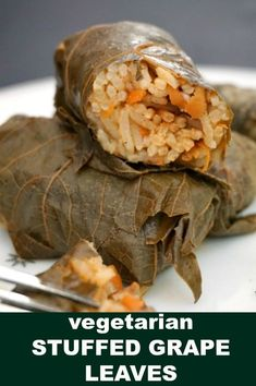 Vegetarian Stuffed Grape Leaves with mushrooms and rice, or Dolmades, a delicious meal for the whole family. Learn how to roll the grape leaves like a pro and cook a superb dinner so easily with this simple recipe. Low in calories, gluten free, light and healthy. #grapeleaves, #dolmades, #dolma, #vegetarianrecipes , #ricerolls, #dinnerrecipes