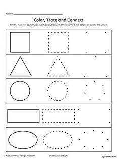 **FREE** Learning Basic Shapes: Color, Trace, and Connect Worksheet.Learn basic shapes by coloring, tracing, and finally connecting the dots to draw the shape with this printable worksheet. Shape Worksheets For Preschool, Shapes Worksheet Kindergarten, Shapes Worksheets, Preschool Writing, Tracing Worksheets, Alphabet Worksheets, Free Preschool, Printable Worksheets, Preschool Learning