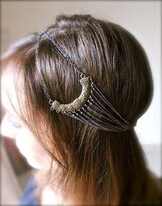 Romantic boho goddess chain head band hair piece by DesignbyJSG