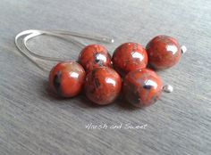 Red jasper earrings, brecciated jasper sterling silver contemporary threaders in recycled silver and agate beads. Sustainable jewelry by Harsh and Sweet.