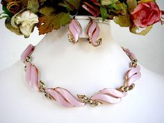 CLAUDETTE Pink Thermoset Necklace & Earrings Set by EyeSpyGoods on Etsy