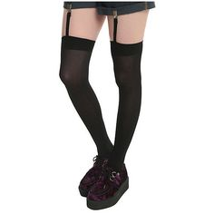 LOVEsick Black Over-The-Knee Garter Thigh Highs | Hot Topic ($11) ❤ liked on Polyvore featuring intimates, hosiery, socks, thigh high hosiery, over the knee hosiery, thigh high socks, overknee socks and garter socks