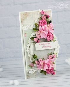 A name-day card - Scrapbook.com - gorgeous  flowers on this card.