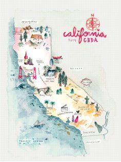 California road trip | http://www.conbotasdeagua.com/california-roadtrip/ Ilustración de Verónica Algaba