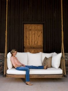 7 Amazing Swing Beds (or Bed Swings) - Great for front porch sitting. - 7 Amazing Swing Beds (or Bed Swings) – Great for front porch sitting. 7 Amazing Swing Beds (or Bed Swings) – Great for front porch sitting. Outdoor Spaces, Outdoor Living, Outdoor Decor, Outdoor Swings, Outdoor Furniture, Indoor Swing, Furniture Ideas, Pallet Furniture, Outdoor Beds