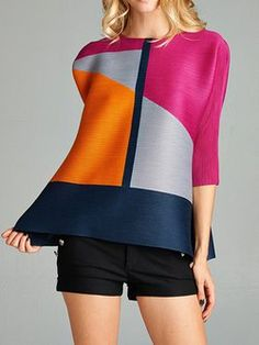 Sleeve Crew Neck Casual Geometric H-line Tunic Kurti Patterns, Dress Patterns, Mod Fashion, Ethnic Fashion, Mode Chic, Stylish Tops, Colorblock Dress, Blouses For Women, Fashion Online